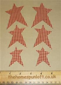 6 IRON ON Primitive Homespun Star Die Cuts
