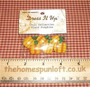 6 Plaid Pumpkin Autumn Fall Buttons
