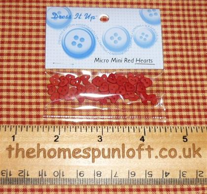 6mm Mini Red Heart Crafting Buttons