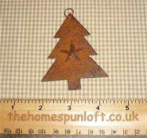 7.5cm Rusty Tin Primitive Christmas Tree with Star
