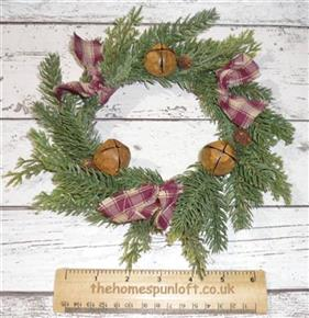 "8"" Primitive Evergreen Homespun Wreath Rusty Bells"