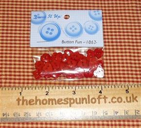 8mm Red Heart Crafting Buttons
