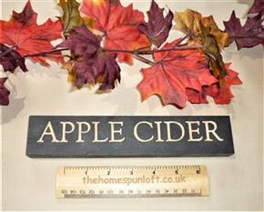 "9"" Primitive Apple Cider Black Wooden Sign"
