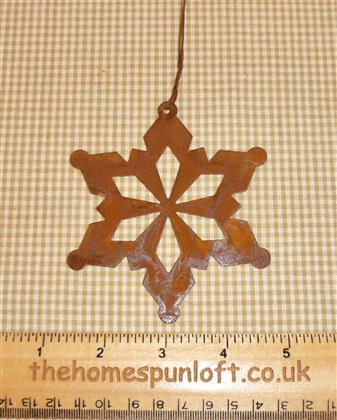 9.5cm Rusty Tin Prim Snowflake Christmas Decor
