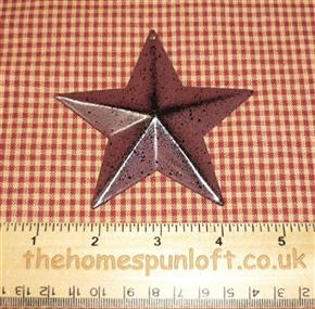 9cm Burgundy Tin Primitive Barn Star
