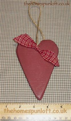 Barn Red Primitive Wooden Heart Hanger