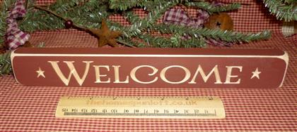 Barn Red Wooden Primitive *Welcome* Sign
