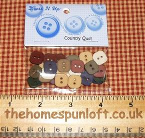Country Quilt Muted Coloured Primitive Buttons
