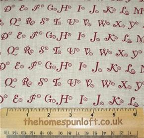 "FQ 58"" WIDE 100% Linen Alphabet Fabric"