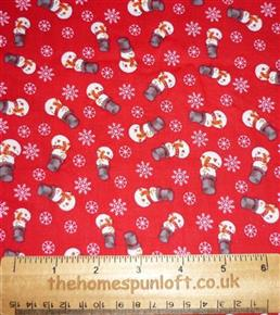 FQ Cute Snowmen Red Christmas Cotton Fabric