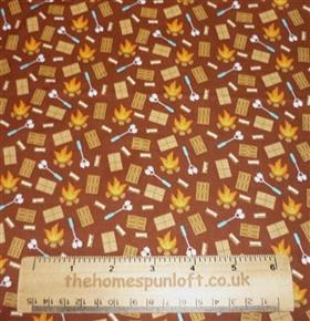 FQ Happy Camper Bonfire Autumn Cotton Fabric