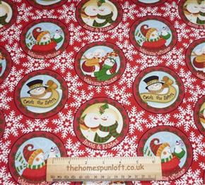 FQ Let it Snow Christmas Snowman Fabric by Windham