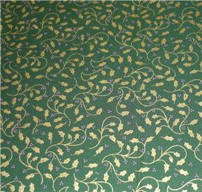 "FQ WIDE 54"" Green Gold Leaf Christmas Fabric"