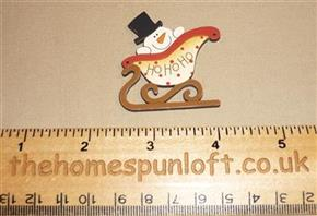 Ho Ho Ho Snowman Sleigh Wooden Sew-thru Button