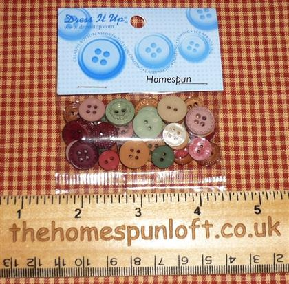 Homespun Muted Primitive Round Decorative Buttons