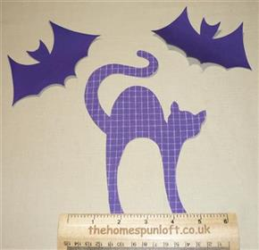 IRON ON Cat and Bats Halloween Fabric Die Cuts