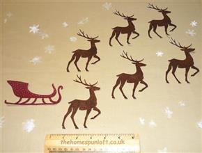 IRON ON Reindeer/Sleigh Fabric Die Cuts