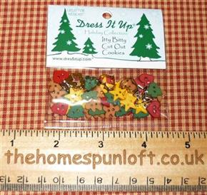Mini Itty Bitty Christmas Shaped Buttons
