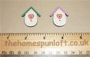 Pair Birdhouses - Wooden Sew Thru Button Pack