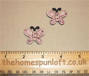Pair Butterfly Wooden Sew Thru Button Pack