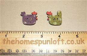 Pair Country Chicken Wooden Sew Thru Buttons