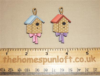 Pair of Birdhouse Wooden Sew Thru Buttons