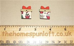 Pair of Christmas Presents Wooden Button Pack
