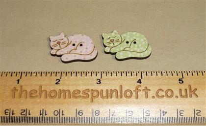 Pair of Cute Cat Wooden Sew Thru Buttons