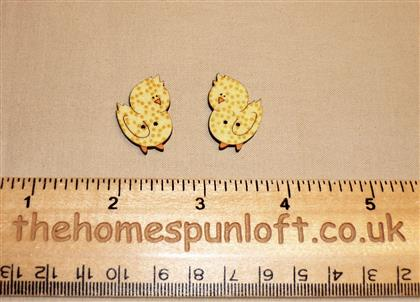 Pair of Easter Spring Chick Wooden Buttons