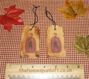 Pair of Primitive Autumn Pumpkin Tags