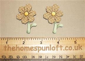 Pair of garden Flower Wooden Sew Thru Buttons