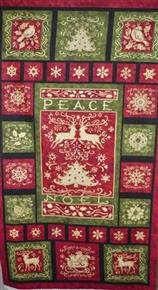 Peace Noel Christmas Fabric Panel by Benartex