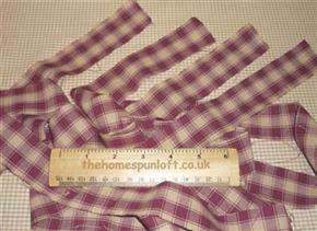 Prim Burgundy/Tan Homespun Fabric Strips 4cm Wide