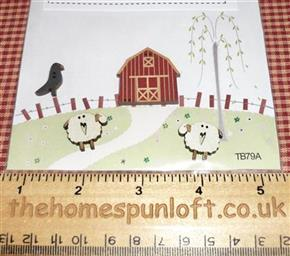 Primitive Barn with Sheep and Crow Wooden Buttons
