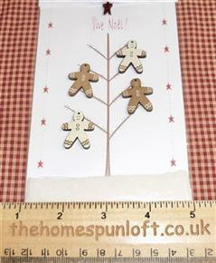 Primitive Christmas Gingerbread Men Wooden Buttons