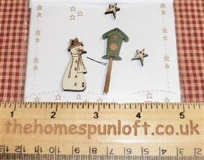 Primitive Christmas Snowman Birdhouse Star Buttons