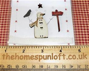 Primitive Christmas Snowman Love Wooden Buttons