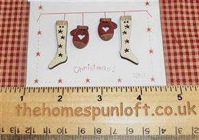 Primitive Christmas Stocking/Mitten Wooden Buttons