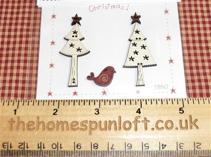 Primitive Christmas Trees Bird and Stars Buttons