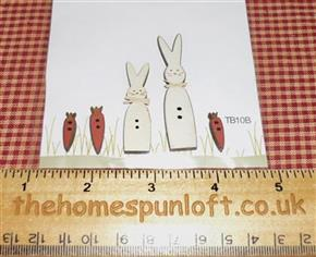Primitive Easter Bunnies and Carrot Wooden Buttons