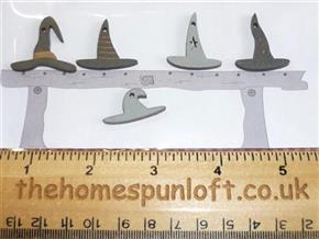 Primitive Halloween Witches Hats Wooden Buttons