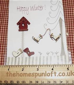 Primitive Happy Winter Christmas Wooden Buttons