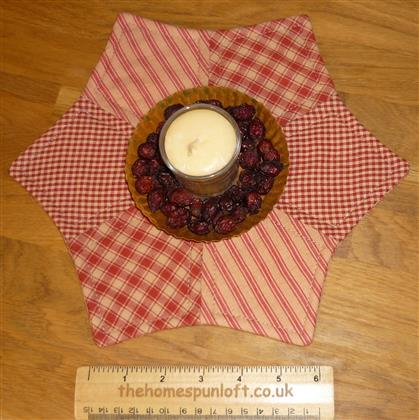 Primitive Homespun Quilted Candle Mat Table Topper