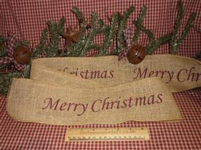 Primitive Merry Christmas Hessian Holiday Ribbon