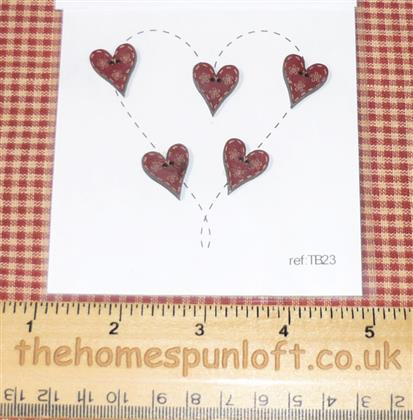 Primitive Set of Wooden Barn Red Heart Buttons