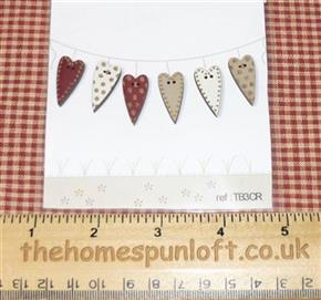 Primitive Set of Wooden Heart Buttons - Barn Red