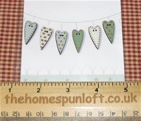 Primitive Set of Wooden Heart Buttons - Greens