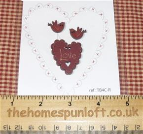 Primitive Set of Wooden Love Heart & Birds Buttons