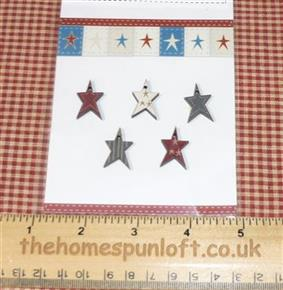 Primitive Set of Wooden Patriotic Star Buttons
