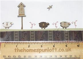 Primitive Sheep and Birdhouse Wooden Buttons
